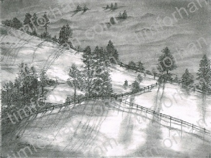 Dawns early light landscape pencil drawing l005