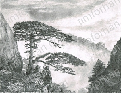 The sentinal landscape pencil drawing l007